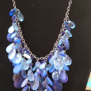Jewelry - 3/$10 Blue Beaded Necklace 18 inches long